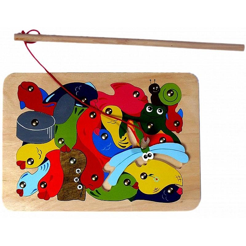 детские деревянные пазлы рыбалка