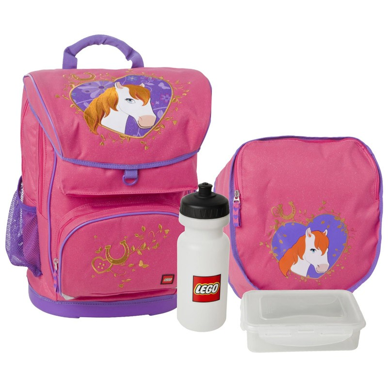 c5d958b5d074 Набор (рюкзак 28 л, сумка, бутылка, ланчбокс) Lego Girl Horse купить ...