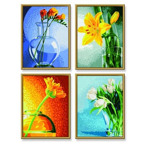 раскраска по номерам 4 картины цветы 18х24см Schipper купить